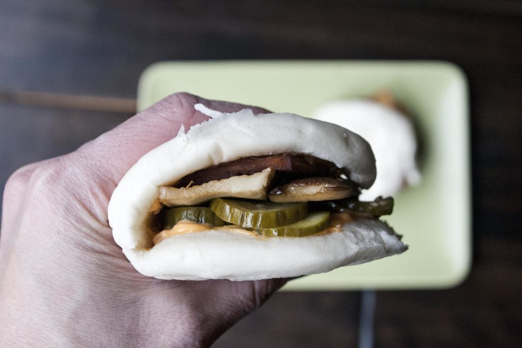 Sesame Roasted King Mushroom & Pickle Steamed Buns