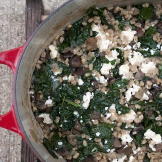 Creamy, ultra-savory Kale and Mushroom Baked Barley Risotto. lifeaswecookit.com