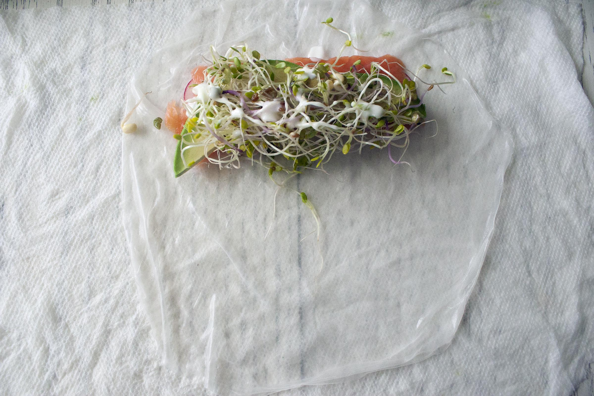 Assembling the Avocado and Smoked Salmon Summer Roll
