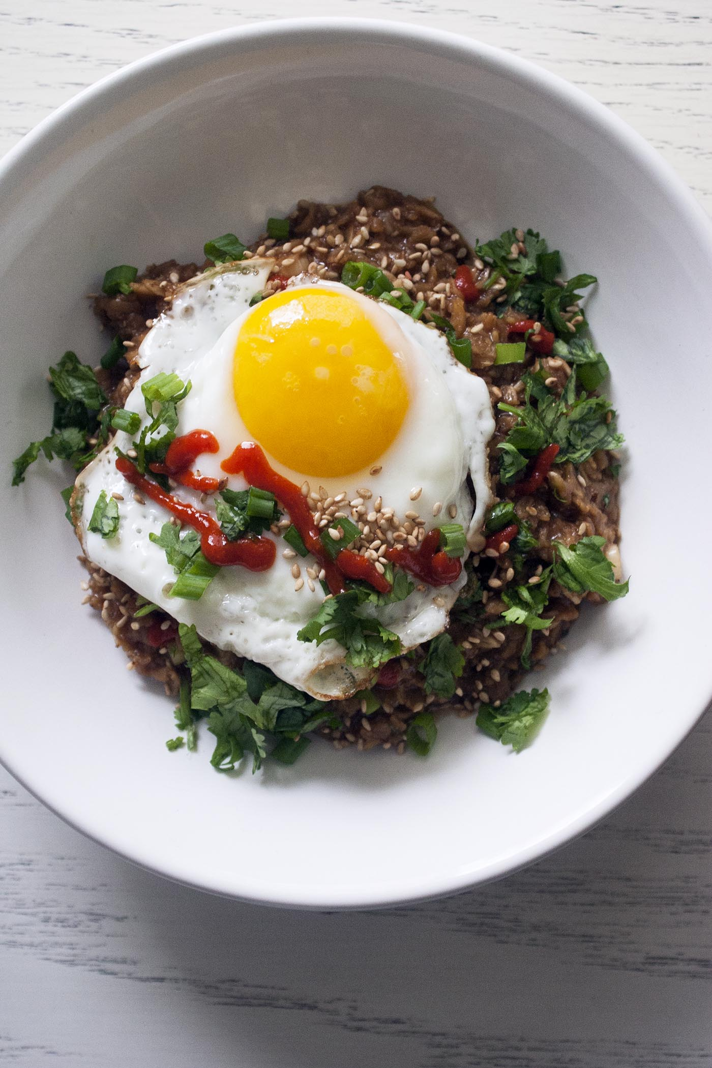 Fast, filling Savory Oats with Soy, Miso & Sesame. Add an egg to make people happy. www.lifeaswecookit.com