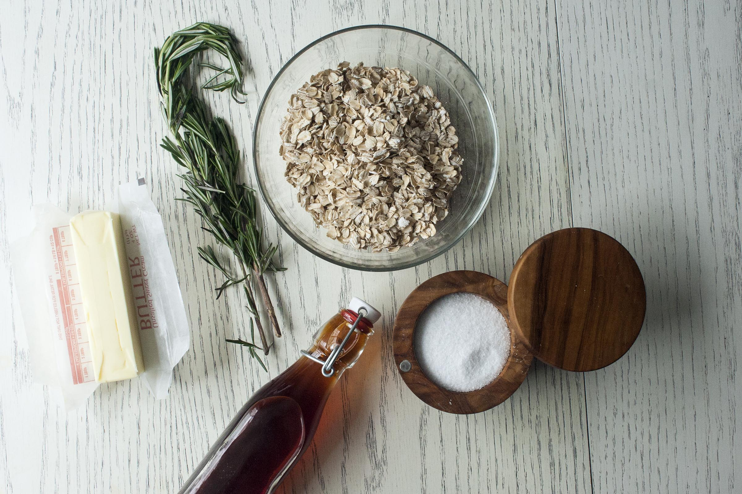 Butter Salted Rosemary Oat Bark Ingredients. www.lifeaswecookit.com