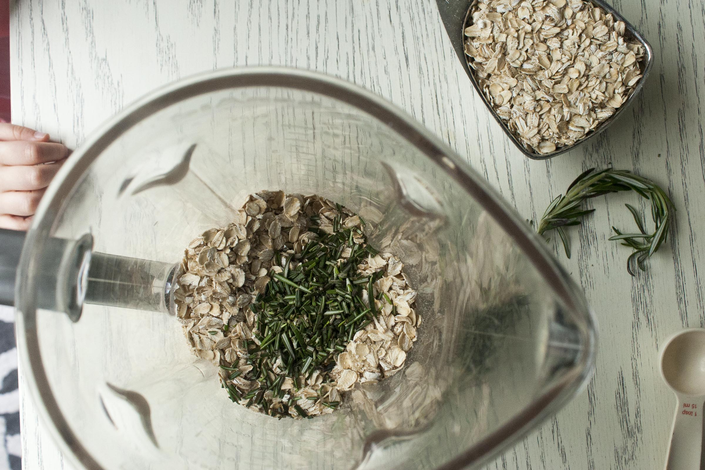 About to blend Oats and Rosemary for Salted Rosemary Oat Bark. www.lifeaswecookit.com