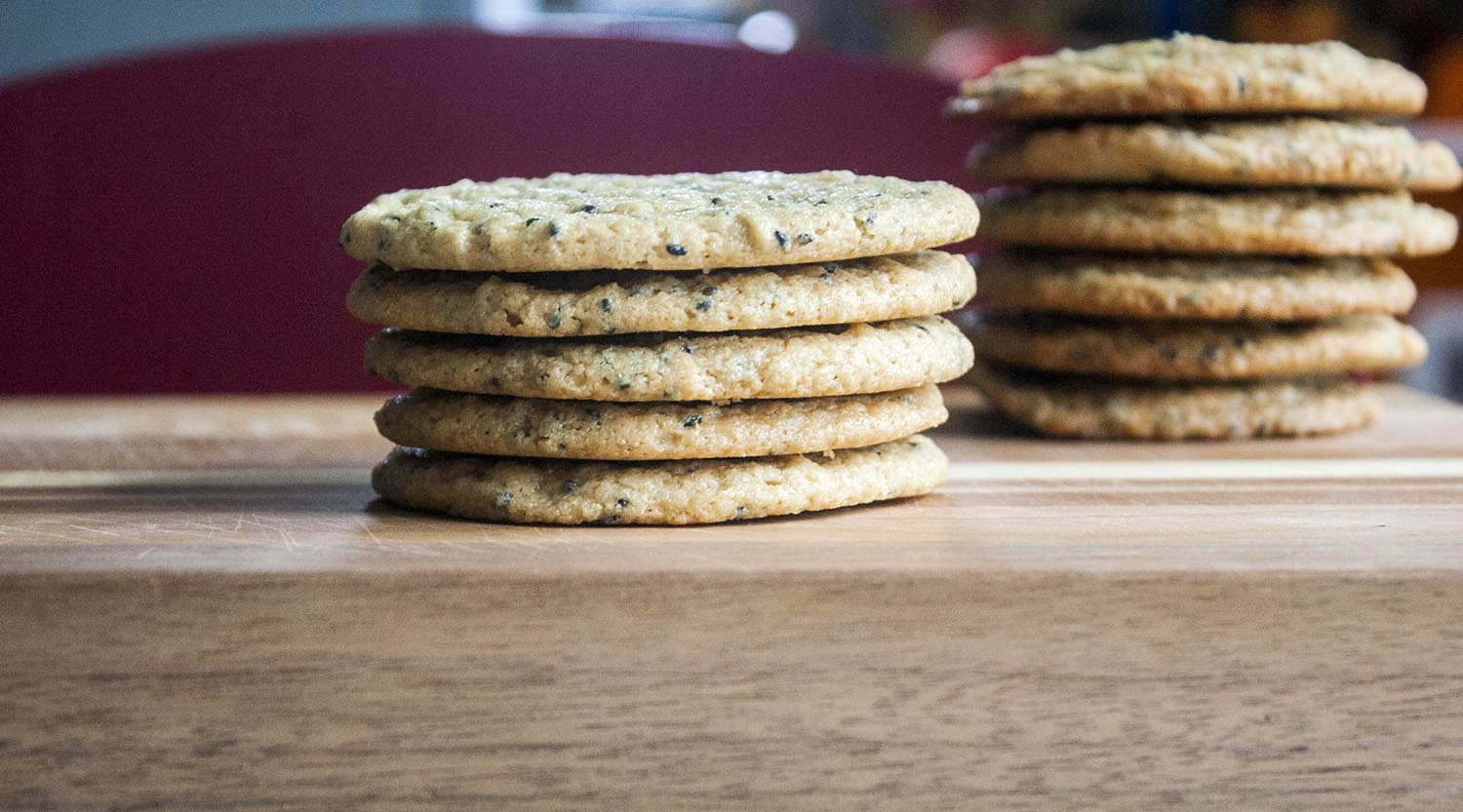 Chewy Triple Sesame Cookies, Stacked. www.lifeaswecookit.com
