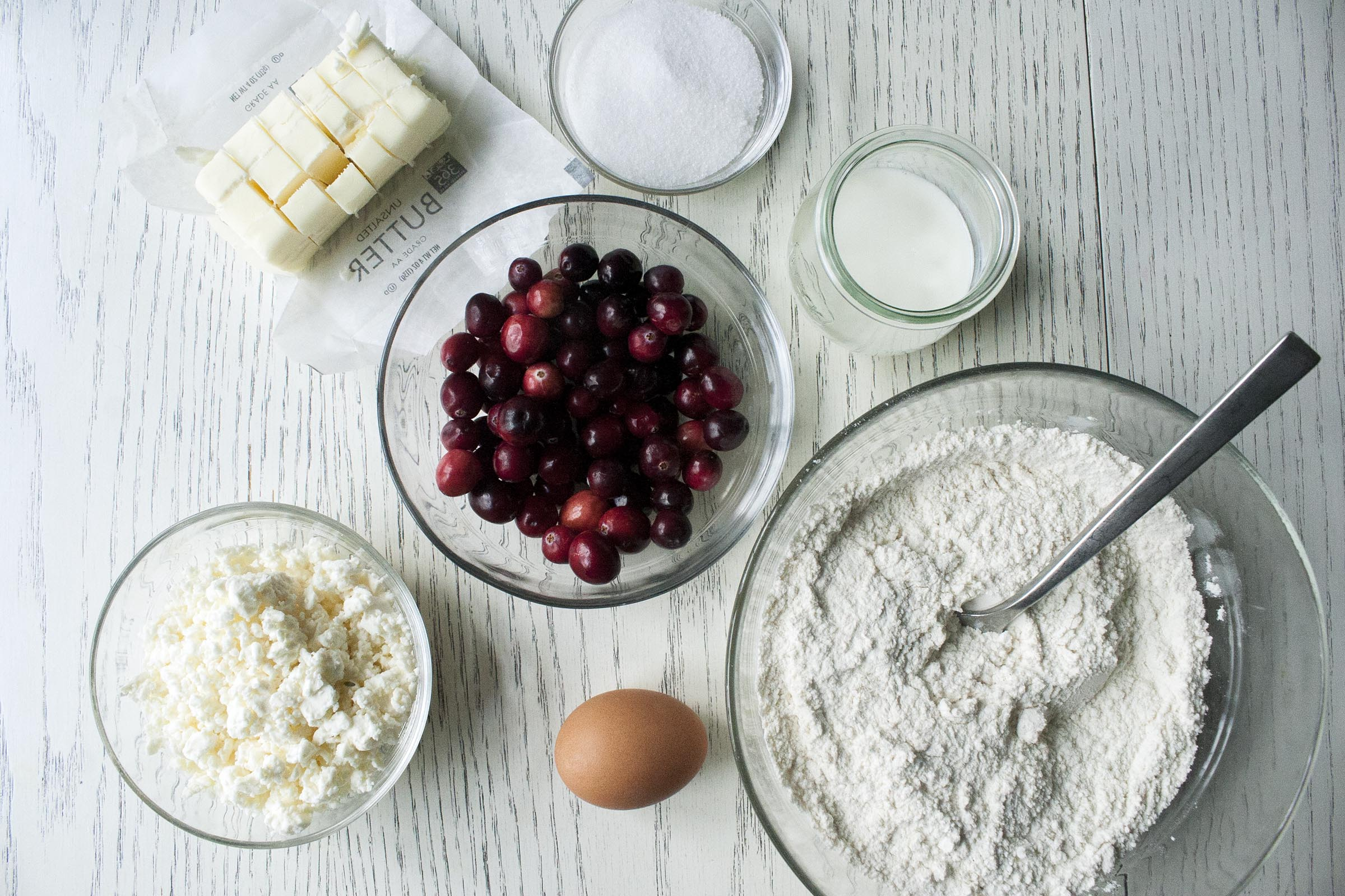 Ingredients for tender, tart and cheesy Cranberry Feta Scones. www.lifeaswecookit.com
