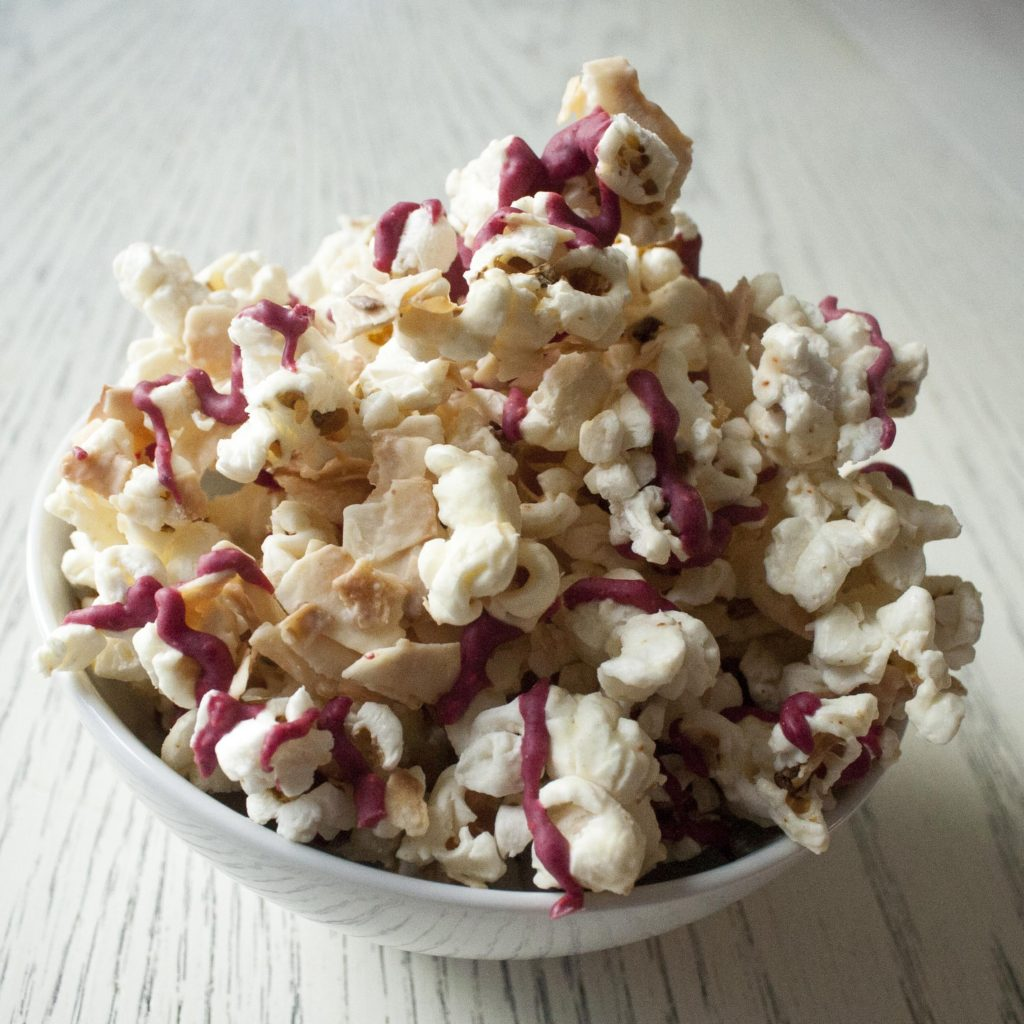 Coconut & Raspberry-Drizzled White Chocolate Popcorn