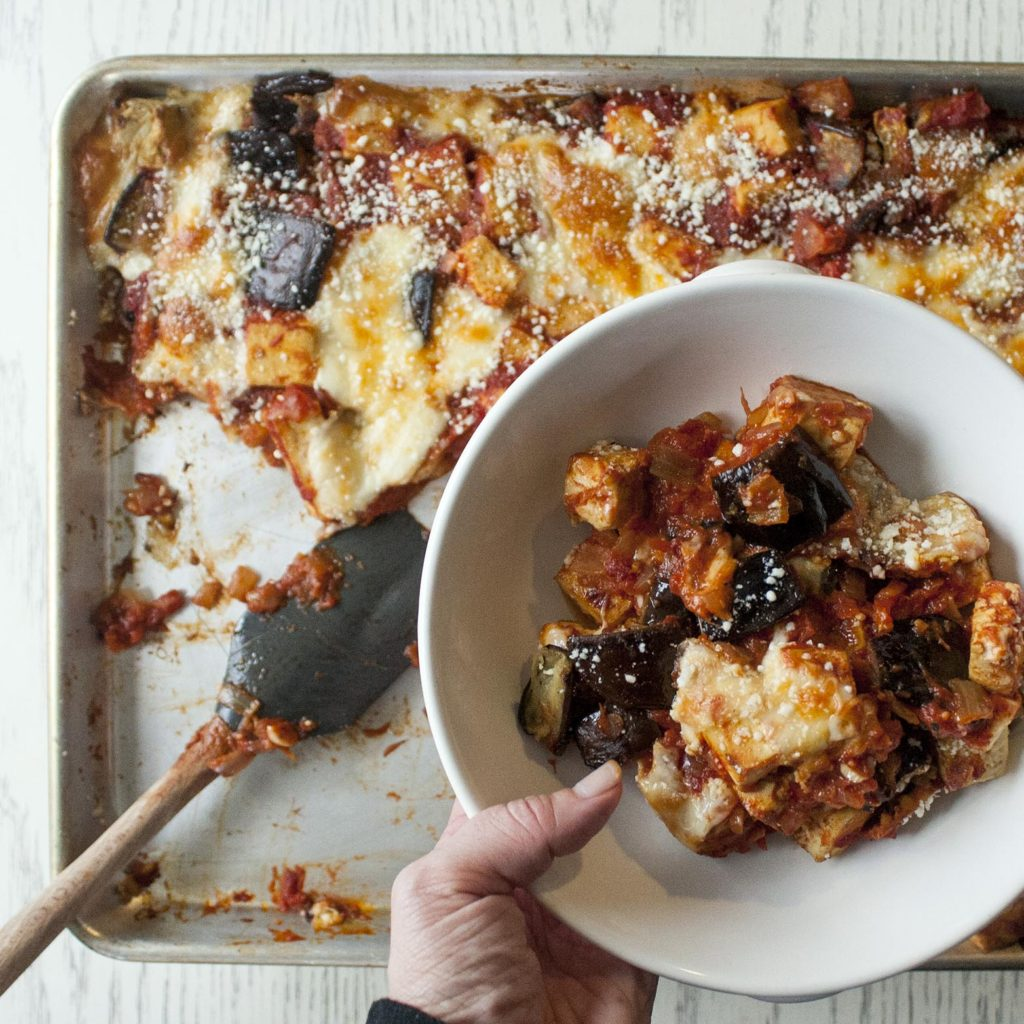 Lemony Eggplant and Tofu Sheet Pan Roast